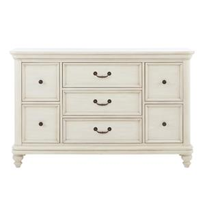 White 7 Drawer Dresser w/ Bun Feet