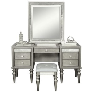Glam 5 Drawer Vanity with Light-Up Mirror and Stool