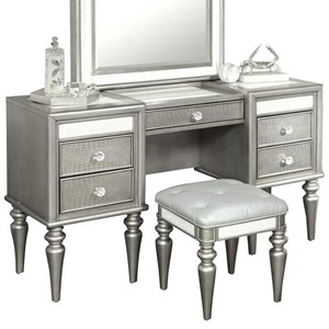 Glam 5 Drawer Vanity & Stool