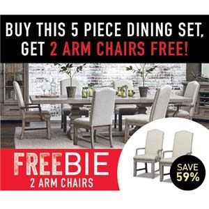 5 Piece Dining Set includes Table, 4 Chairs and 2 Freebie Arm Chairs!