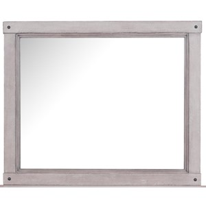 Beveled Mirror with Bolt Head Accents
