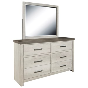 6 Drawer Dresser and Mirror Set with Two-Tone Finish