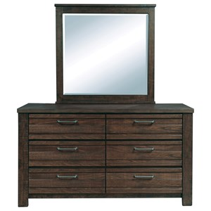 6 Drawer Dresser and Landscape Mirror Combo