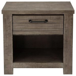 1 Drawer Nightstand with Open Compartment
