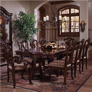 Double Pedestal Dining Table and Chair Set