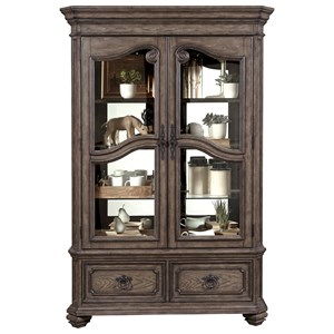 Traditional China Cabinet with 4 Shelves and 2 Drawers