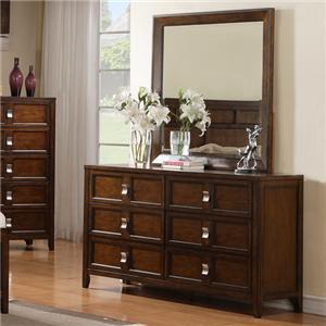 Wooden Six-Drawer Dresser with Landscape Mirror