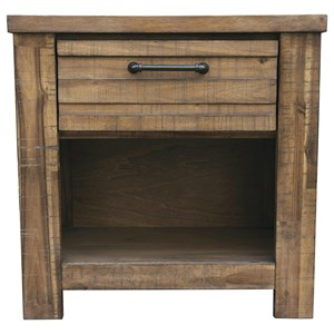 1-Drawer Nightstand with Open Compartment