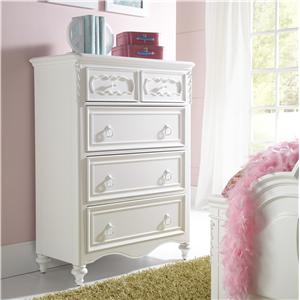 5 Drawer Chest with Decorative Raised Panels