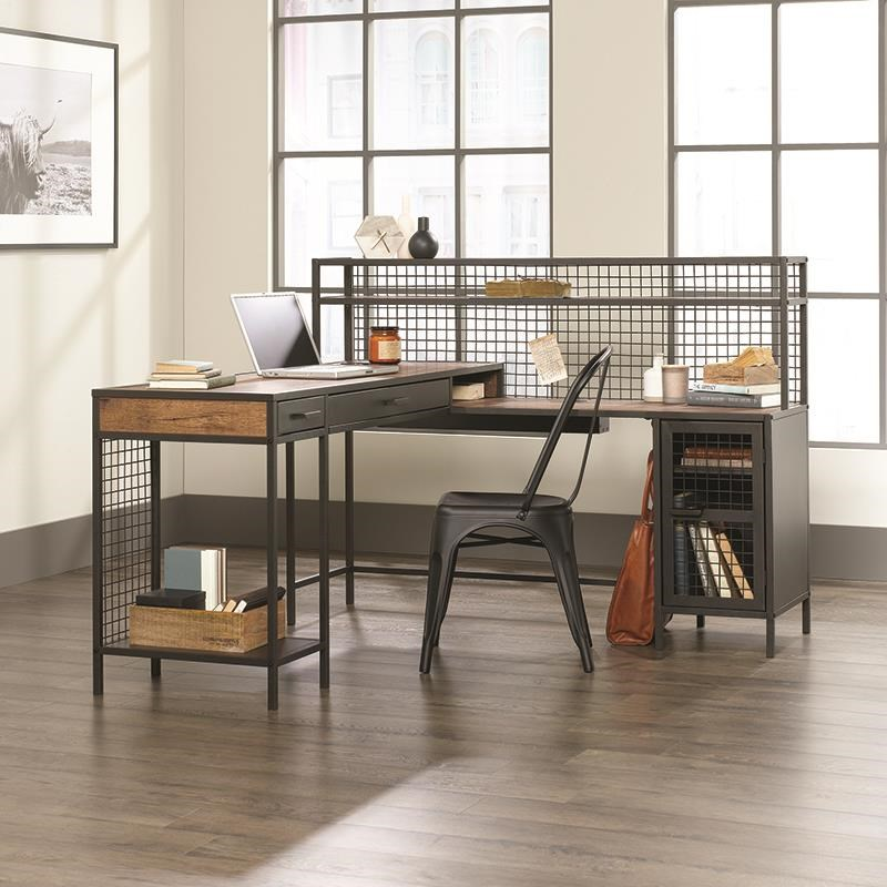 Beginnings L Shaped Industrial Desk by Sauder at Darvin Furniture
