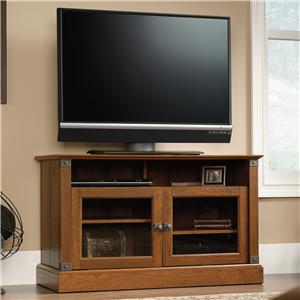 Rustic Style Panel TV Stand with Industrial Look Brackets