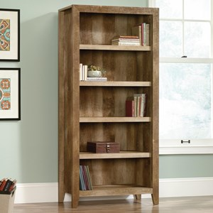 Rustic Finish 5-Shelf Bookcase