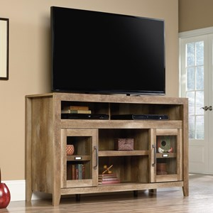 Rustic Finish Entertainment Credenza with Glass Doors and Adjustable Shelves