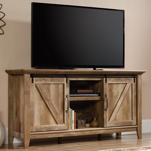 Rustic Finish Credenza/TV Stand with Barn Doors