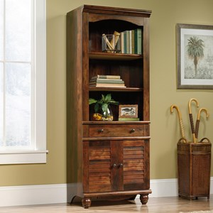 Antique Finished 2-Shelf 2-Door Library