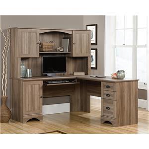 Desk, Hutch and Bookcase in Salt Oak