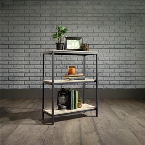 Metal Short Bookcase with Rustic-Look Shelves