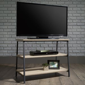 Metal TV Stand with 2 Rustic-Look Open Shelves