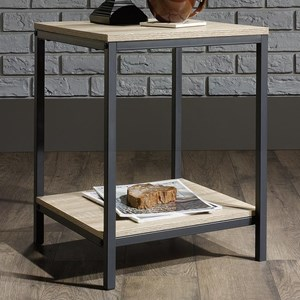 Metal Side Table with Rustic-Look Top and Shelf