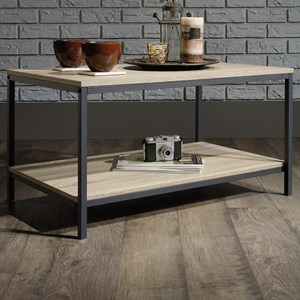 Metal Coffee Table with Rustic-Look Top and Shelf