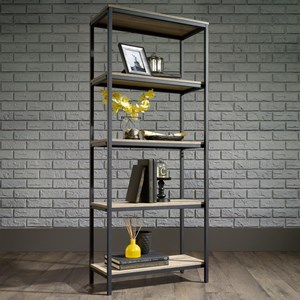 Metal Tall Bookcase with Rustic-Look Shelves