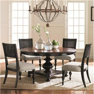 Caracole Home American Kaleidoscope Pedestal Table and Cane Back Chair Set