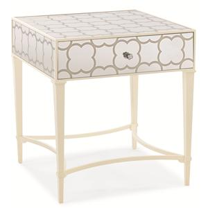 """Cookie Box"" Single Drawer Open Side Table with Patterned Mirror Panels"