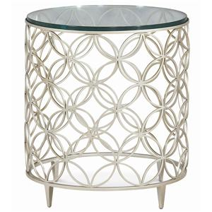 """Bubbles"" Side Table with Trelis Drum Base and 22-Inch Tempered Glass Top"