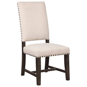 Upholstered Parson Chair with Nailhead Trim