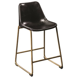Counter Height Bucket Stool with Brass Base