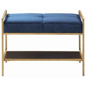 Velvet Upholstered Bench with Brass Finish Frame and 1 Shelf