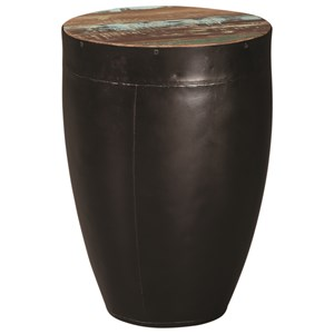 Side Table with Black Drum Base