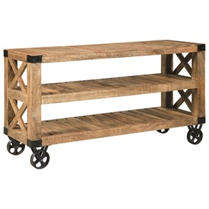 Industrial Sofa Table with Casters