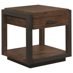 Industrial End Table With Black Metal Frame