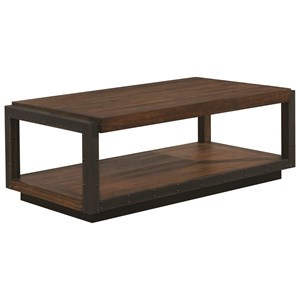 Industrial Coffee Table with Black Frame