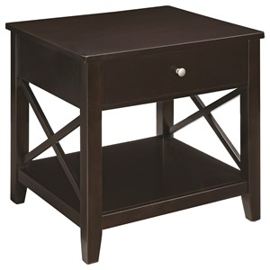 Transitional End Table with X-Supports