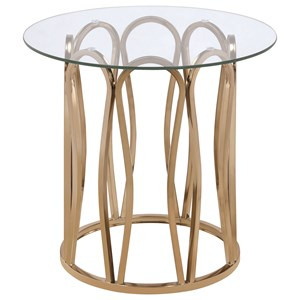 Modern Round End Table with Metal Base