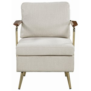 Beige and Brass Accent Chair