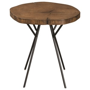 Tree Trunk Slab Accent Table with Metal Legs