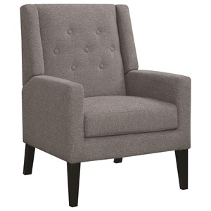 Accent Chair with Demi-Wings and Button Tufting