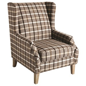 Upholstered Wingback Chair with Plaid Design