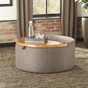 Round Ottoman with Storage Compartment