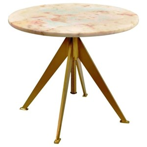 Adjustable Height Marble and Brass Accent Table