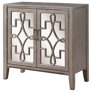 Accent Cabinet with Mirrored Doors Accented with Lattice Designs