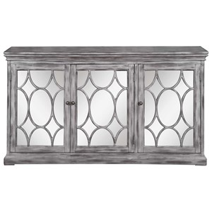 Accent Cabinet with Three Mirrored Doors Accented with Lattice