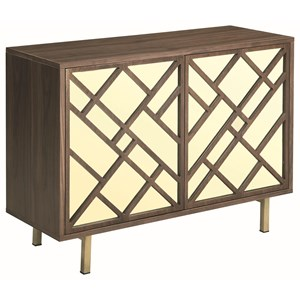 Accent Cabinet with Geometric Mirrored Doors