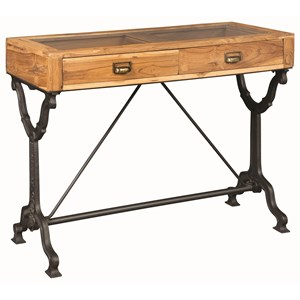 Industrial Console Table with Glass Top