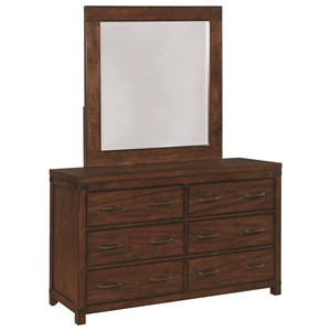 Vintage Six Drawer Dresser and Mirror Set