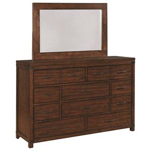 Vintage Inspired Six Drawer Dresser and Mirror Set