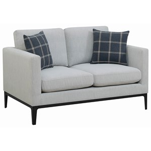 Contemporary Loveseat with Metal Base